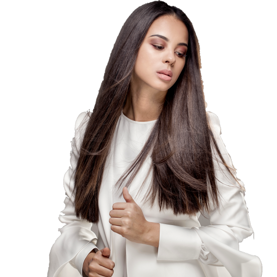model-wearing-white-with-kinky-straight-human-hair-extensions